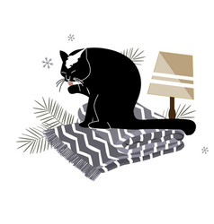 Funny minimailstic cristmas composition with cat vector