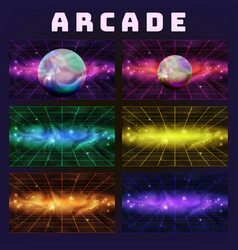 galaxy collection on arcade background set vector image