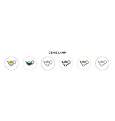 Genie lamp icon in filled thin line outline vector