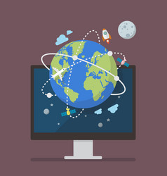 global network connection from computer screen vector image