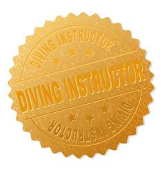 Golden diving instructor medallion stamp vector