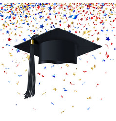 graduate cap on a background multicolor vector image