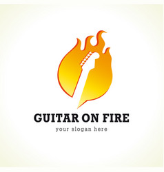 guitar on fire logo vector image
