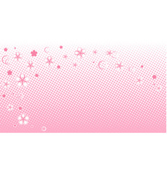 Halftone pink background with flowers vector