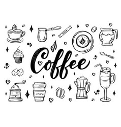 hand lettering name of coffee with sketches for vector image