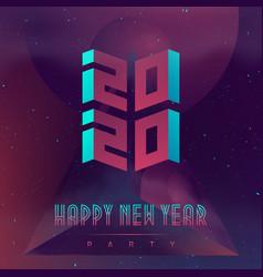 Happy new year 2020 party futuristic design vector