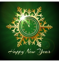 Happy New Year with Golden snowfake shaped clock vector