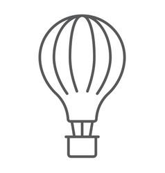 hot air balloon thin line icon airship and flight vector image