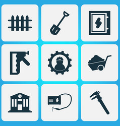 Industry icons set with construction stapler vector