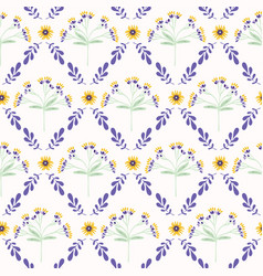 Lavender mint green and lilac flower lattice vector