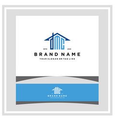 Letter dmc home roof logo design and business card vector