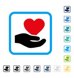Love heart offer hand framed icon vector