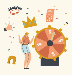 lucky woman character win jackpot on fortune wheel vector image