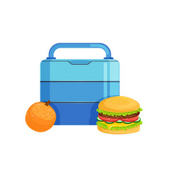 Lunch box with burger and orange food for kids vector