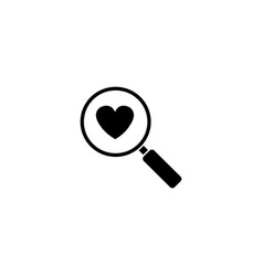 magnifier with heart solid icon love searching vector image