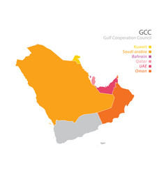 Map gulf cooperation councilgccs vector