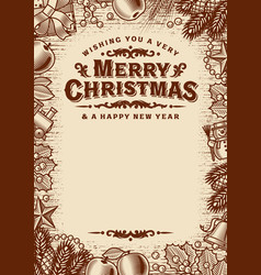 merry christmas greeting card with copy space vector image