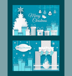 merry christmas origami postcard fire and gifts vector image