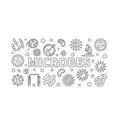 Microbes horizontal line vector