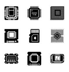 microcrystal icons set simple style vector image