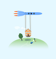 moving house rocket relocating refugees vector image