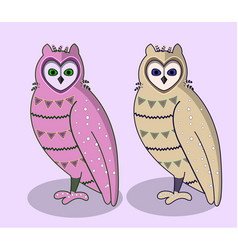 pink cartoon cute owls set vector image