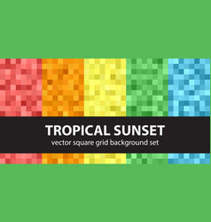 pixel pattern set tropical sunset seamless pixel vector image