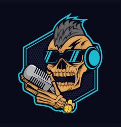 Podcast skull design vector