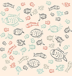 Retro Abstract Simple Outline Fish Pattern vector