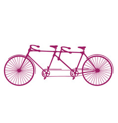 retro old silhouette tandem bicycle vector image