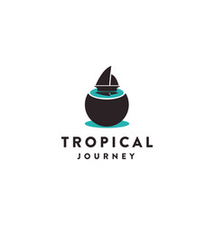 sail boat and coconut logo tropical journey logo vector image