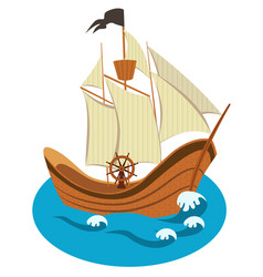 Sailing ship isolated vector