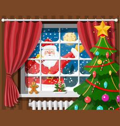 Santa in window of room with christmas tree vector