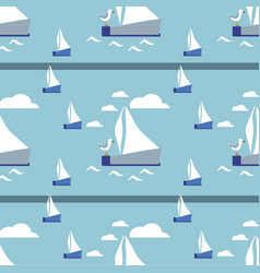 seamless pattern with hand drawn sailing vector image