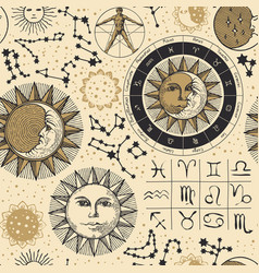 Seamless pattern with sun moon and zodiac signs vector