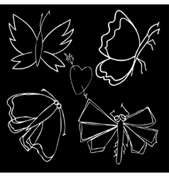 Set of butterflies Insects vector image