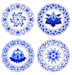 Set of decorative porcelain plates ornate vector