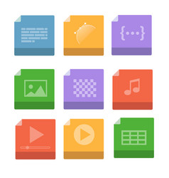 set of document file formats and labels icons vector image