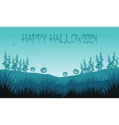 Silhouette of pumpkins in fields Halloween vector