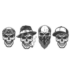 skull in bandana on face vector image