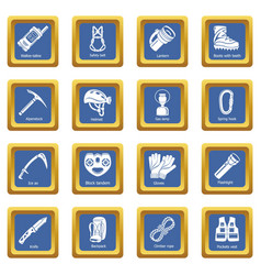 Speleology equipment icons set blue square vector