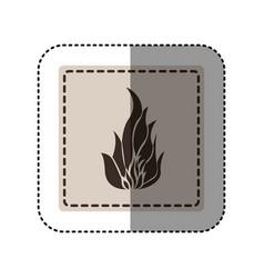 sticker monochrome square with icon flame vector image