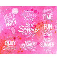 Summer set in retro style on pink watercolor vector