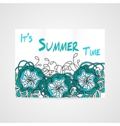 Summers brochure with abstract hamd drawn flower vector