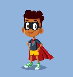 Superhero african boy cartoon vector