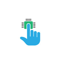 technology click hand data logo vector image