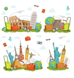Travel icons and different landmarks famous world vector