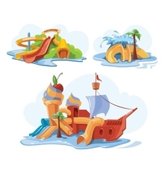 Water slides in an aquapark vector image