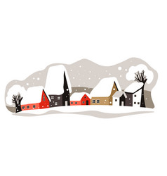winter cityscape houses rooftops covered with vector image