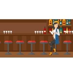 Woman sitting at bar vector